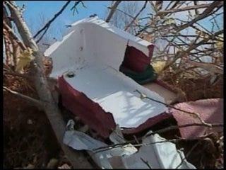 Meteorologist surveys tornado damage