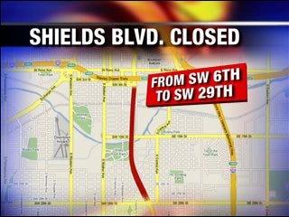 Shields Boulevard to close Monday