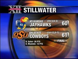 Oklahoma State stuns Kansas, 61-60