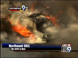 Police car catches on fire after chase