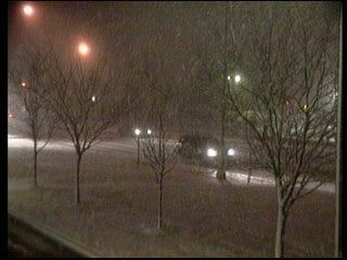 Snow blows through metro