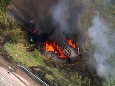 Highway shut down after chemical spill, fire