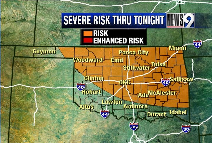 Severe storms possible Sunday