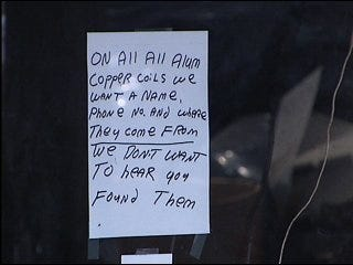 Copper thieves strike again