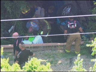 Firefighters rescue trapped man