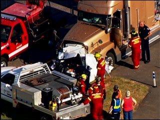 Tractor-trailer truck collision kills one