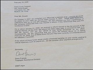 County refund checks taken back