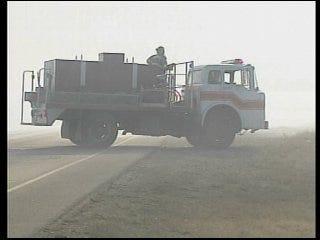 Wildfires shut highway near Woodward