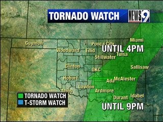 Tornado watch issued for Monday evening