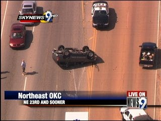 Car overturns in northeast OKC