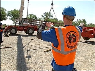 Class demonstrates crane operation