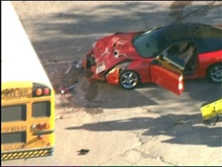 Car Collides With School Bus in Northeast OKC