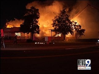 Five-Alarm Fire Consumes Building, Spares Church