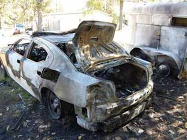 OHP cruiser vandalized by arsonist