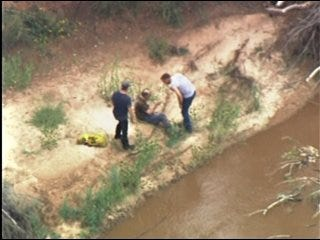 Man rescued after being stranded in high water