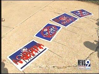 Edmond residents find political signs vandalized