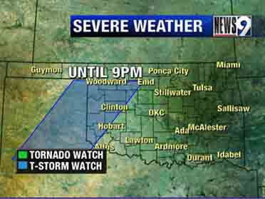 Severe thunderstorm watch in effect until 9 p.m. Friday