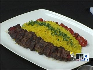 Beef Shish Kabobs with Saffron Rice