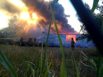Edmond Firefighters Battle Barn Fire