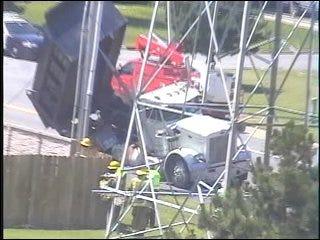 Dump Truck Entangles in Power Lines