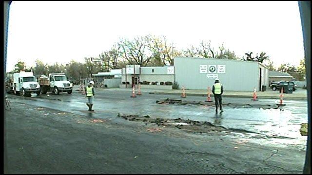 Crews Repair Broken Water Main At N.W. 13th And Portland Avenue In OKC