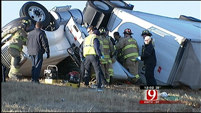1 Injured When Tractor-Trailer Overturned In OKC