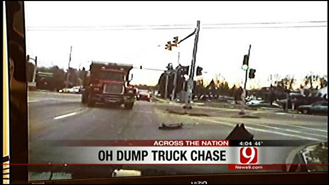 Stolen Dump Truck Smashes Police Cars