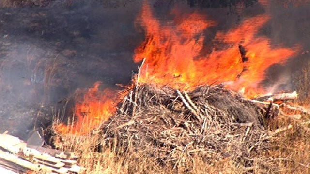 Grassfire Rekindled West of H.E. Bailey Turnpike In SW Oklahoma City