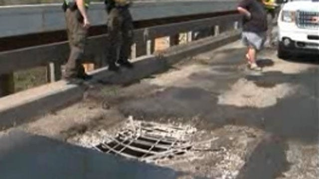 Hole In Bridge Briefly Shuts Down I-40 In Eastern Oklahoma