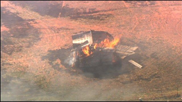 Large Grassfire Burns Near Marlow