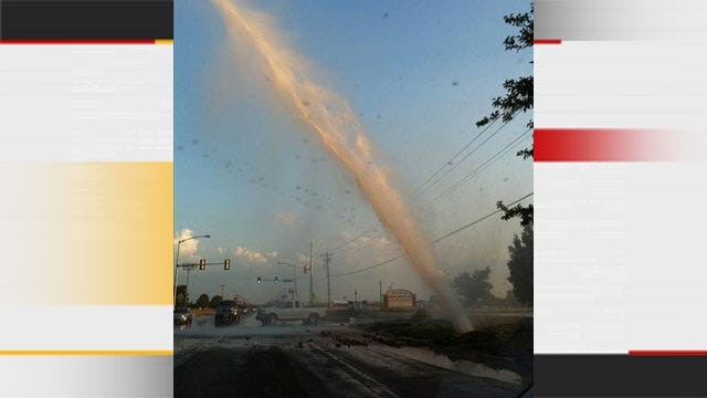 OKC Water Main Break Sends Geyser Into The Air