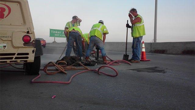 ODOT Crews Repair Hole In I-40 Bridge In Midwest City