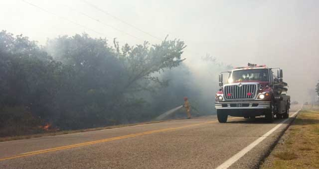 Firefighters Battling Grassfire In Edmond