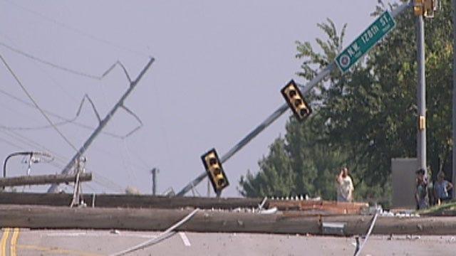 Storm Knock Down Power Poles, OKC Residents Blocked In