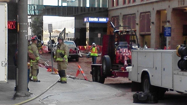 Construction Crews Rupture Gas Line In Downtown OKC
