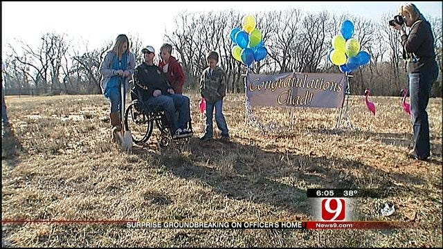 Family, Friends Surprise OKC Officer With Groundbreaking On New Home