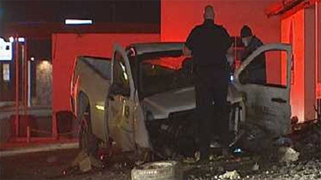 Man Crashes Truck Into Yukon Gas Station After Police Chase