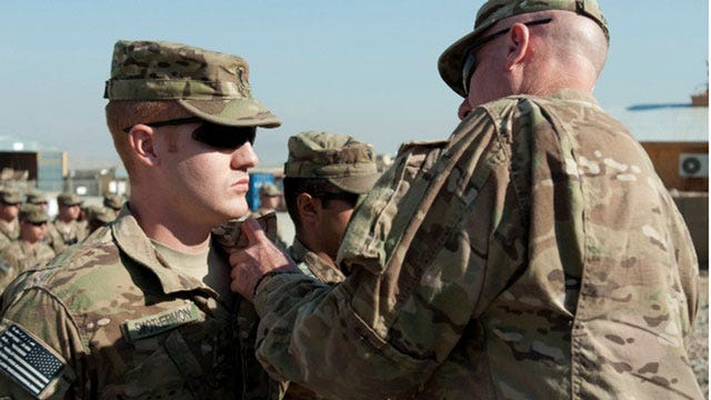 Two Oklahoma 45th Brigade Soldiers Receive Purple Heart Medals