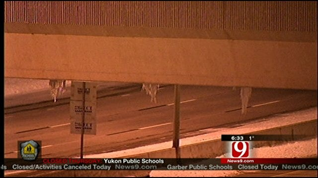 Crews Clear Large Icicles From Oklahoma City Bridge
