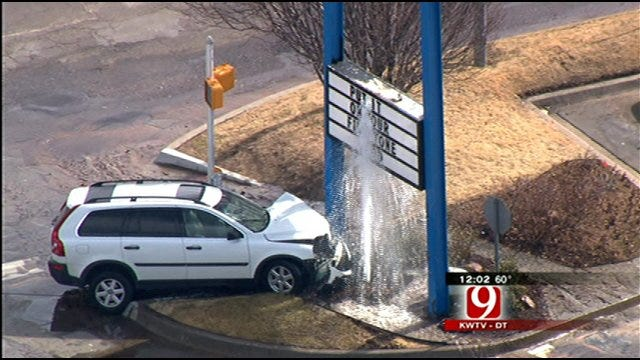 Car Slams Into Fire Hydrant At OKC Intersection