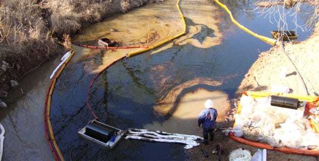 Crew Working To Clean Up Oil Spill Near Cromwell