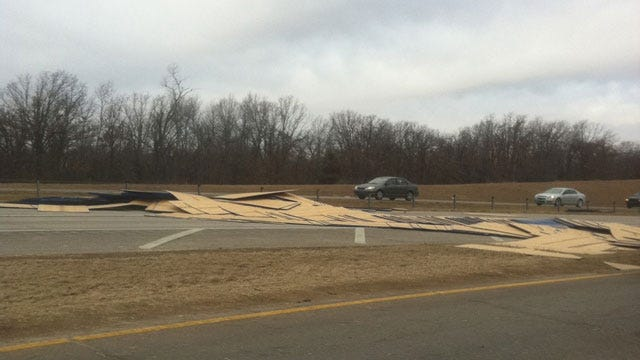 Piles Of Plywood On I-40 Temporarily Slow Traffic
