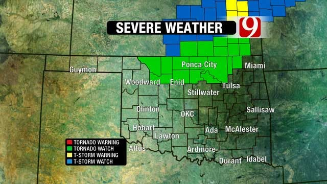 Parts Of Northern Oklahoma Under Tornado Watch