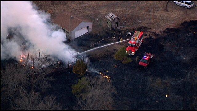 Fire Crews Battle House, Grass Fire Near Norman