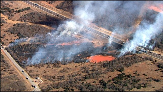 Turner Turnpike Reopens As Crews Continue Battling Grass Fire