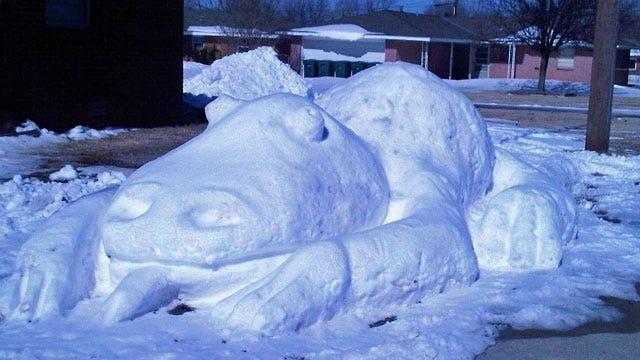 Edmond Family Carves Monster In Snow