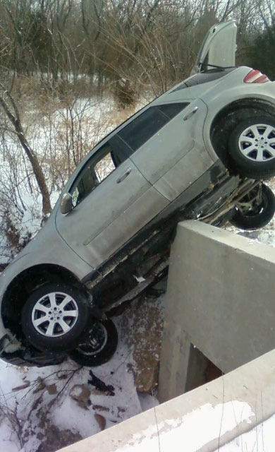 Driver Forced To Jump From Car Teetering From Bridge