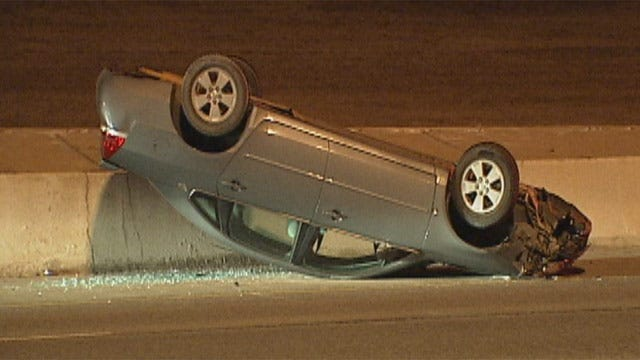 Driver Survives OKC Turnpike Rollover