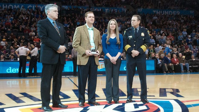 Ambushed Police Officer Honored For Bravery At Thunder Game
