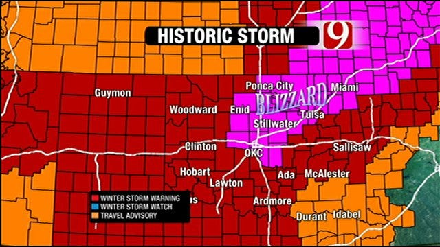 Blizzard Intensifies Across Oklahoma